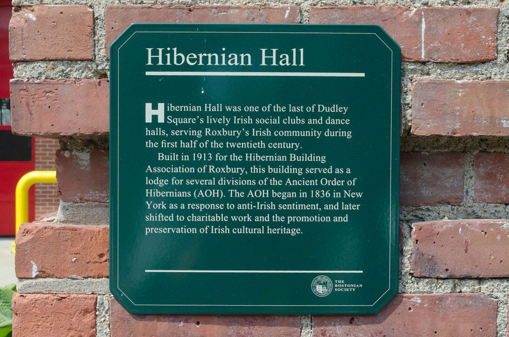 Hibernian Hall  - Historic Plaque